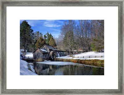 Snow At Mabry Mill Framed Print by Steve Hurt