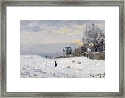 Snow At Montmartre Framed Print by Hippolyte Camille Delpy