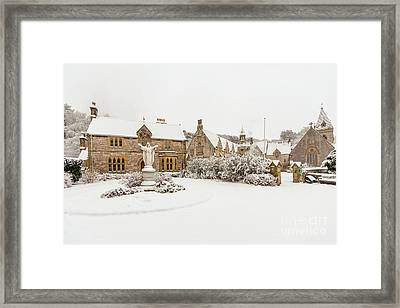 Snow At Pantasaph Friary Framed Print by Adrian Evans