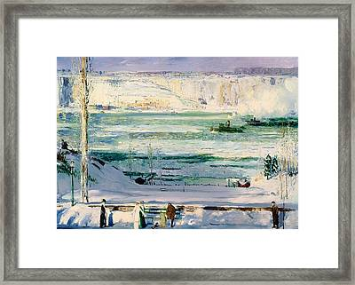 Snow-capped River - Hudson Framed Print by Mountain Dreams