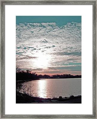 Snow Cloud Sunset Framed Print by Mary Ann Weger