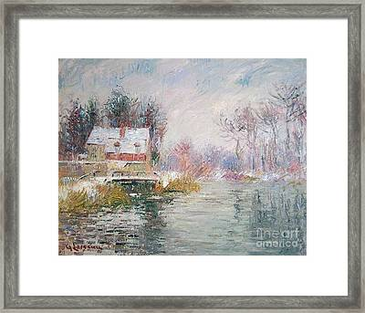 Snow Covered Bridge Framed Print by MotionAge Designs