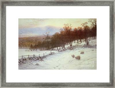 Snow Covered Fields With Sheep Framed Print by Joseph Farquharson