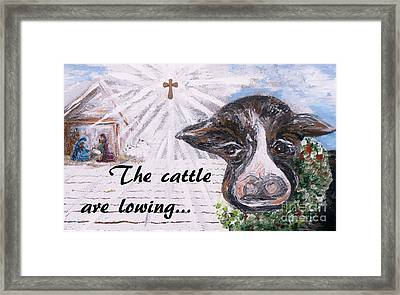 Snow Cow At The Manger Framed Print by Eloise  Schneider