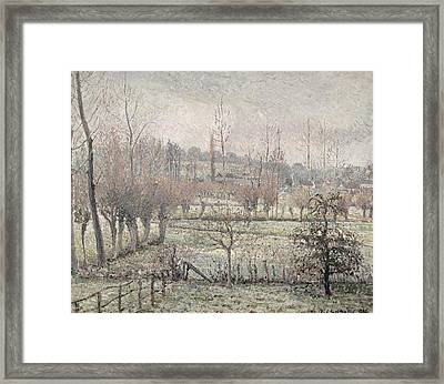 Snow Effect At Eragny Framed Print by Camille Pissarro