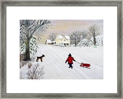 Snow Fun Framed Print by Anke Wheeler