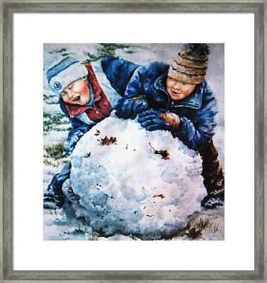 Snow Fun Framed Print by Hanne Lore Koehler