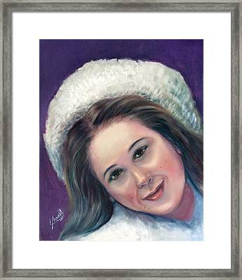 Snow Girl  Framed Print by Laila Awad Jamaleldin