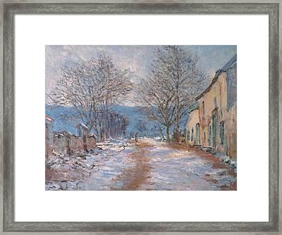 Snow In Limetz   Effet De Neige A Limetz Framed Print by Claude Monet