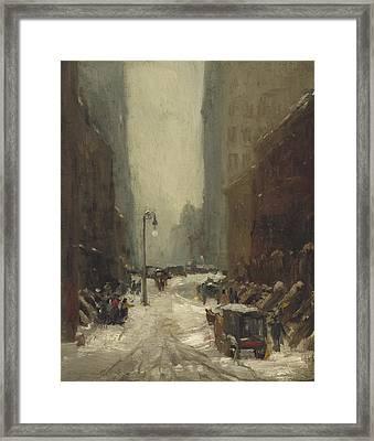 Snow In New York Framed Print by Robert Cozad Henri