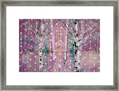 Snow Falling In The Pastel Forest Framed Print by Tara Turner