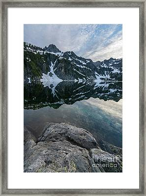 Snow Lake Chair Peak Dusk Reflection Framed Print by Mike Reid