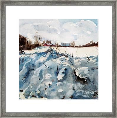 Snow On Southwick Framed Print by Elizabeth Carr