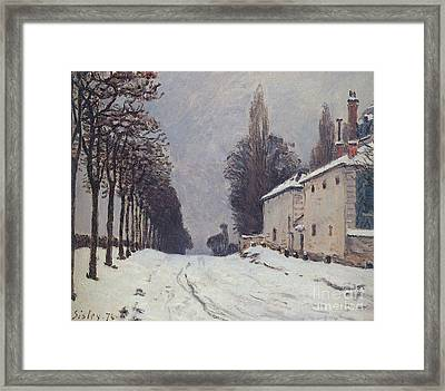 Snow On The Road Framed Print by Louveciennes