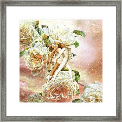 Snow Rose Ballet Framed Print by Carol Cavalaris