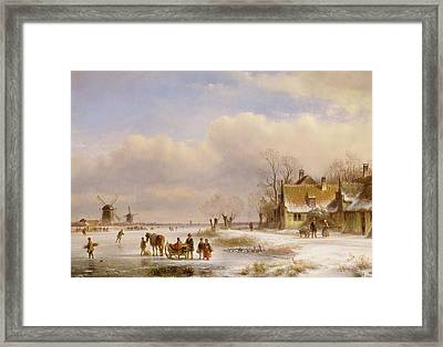 Snow Scene With Windmills In The Distance Framed Print by Lodewijk Johannes Kleyn