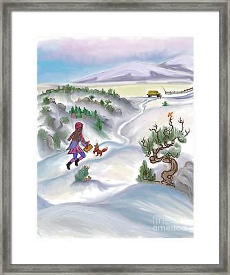 Snow Tang - Story Illustration 5 - Age 12 Framed Print by Dawn Senior-Trask