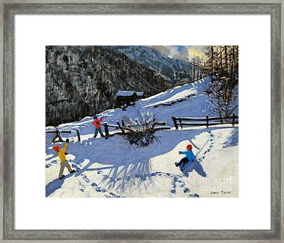 Snowballers Framed Print by Andrew Macara