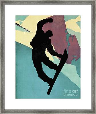 Snowboarding Dude, Morning Light Framed Print by Tina Lavoie