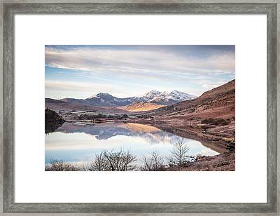 Snowdon Horseshoe Winter Reflections Framed Print by Christine Smart