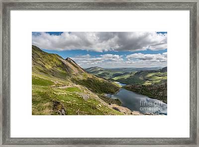 Snowdon Tracks Framed Print by Adrian Evans