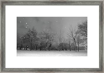 Snowfall At Night Framed Print by Mark Watson (kalimistuk)