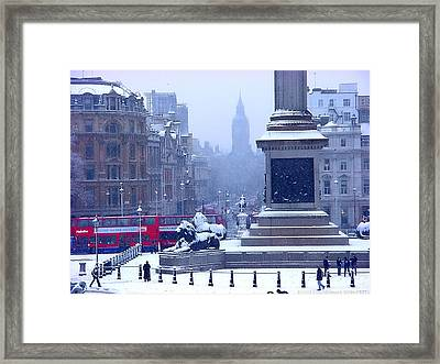 Snowfall Invades London Framed Print by Christopher Robin