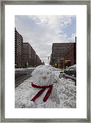 Snowman 96th Street And Park Avenue 4 Framed Print by Robert Ullmann
