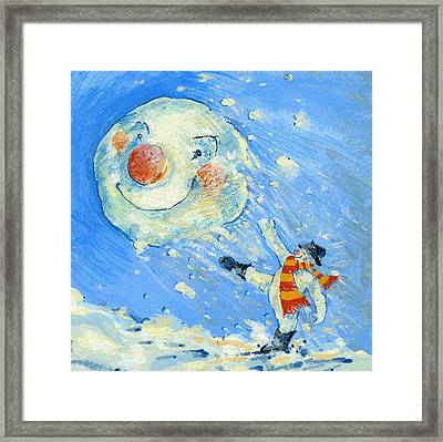 Snowman And Snowball  Framed Print by David Cooke