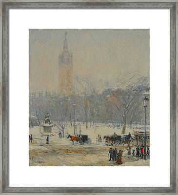 Snowstorm, Madison Square Framed Print by Childe Hassam