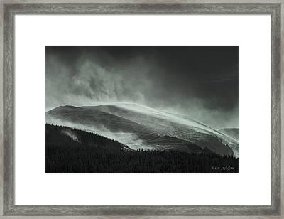 Snowswept Mountain Top Framed Print by Brian Gustafson