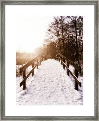 Snowy Bridge Framed Print by Wim Lanclus