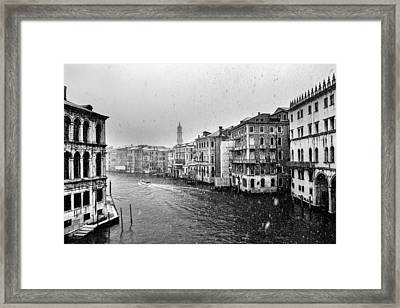 Snowy Day In Venice Framed Print by Yuri Santin