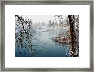 Snowy Day On The River Framed Print by Beve Brown-Clark Photography