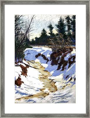 Snowy Ditch Framed Print by Mary McInnis