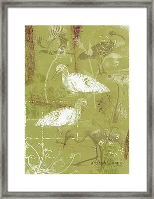 Snowy Egrets Framed Print by Arline Wagner