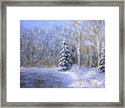 Snowy Frozen Pond  Framed Print by Matthew Hannum