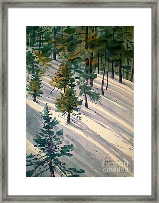 Snowy Hillside Framed Print by Donald Maier