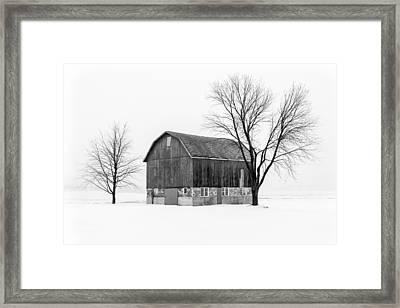 Snowy Little Barn Framed Print by Todd Klassy