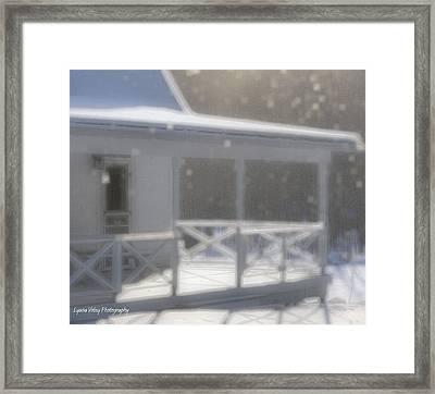 Snowy Maine Farmhouse Framed Print by Lyana Votey