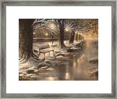 Snowy Night Framed Print by Veronica Minozzi
