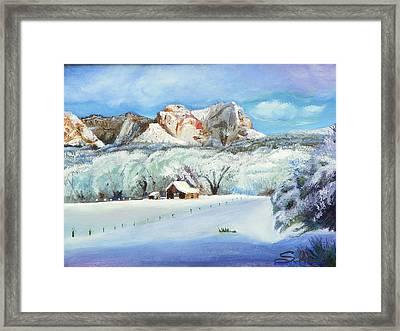 Snowy Sugar Knoll Framed Print by Sherril Porter