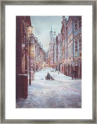 snowy Sunday night in Prague Framed Print by Gordana Dokic Segedin