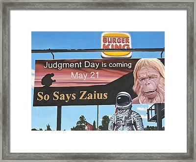So Says Zaius Framed Print by Scott Listfield