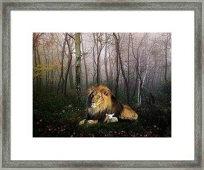 So The Lion Fell In Love With The Lamb Framed Print by Julie L Hoddinott