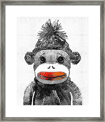 Sock Monkey Art In Black White And Red - By Sharon Cummings Framed Print by Sharon Cummings