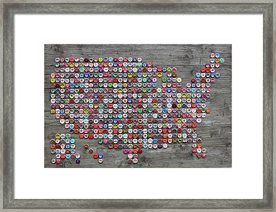 Soda Pop Bottle Cap Map Of The United States Of America Framed Print by Design Turnpike