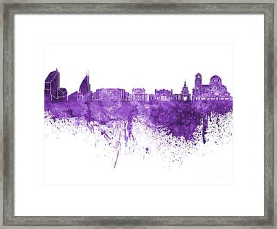 Sofia Skyline In Purple Watercolor On White Background Framed Print by Pablo Romero