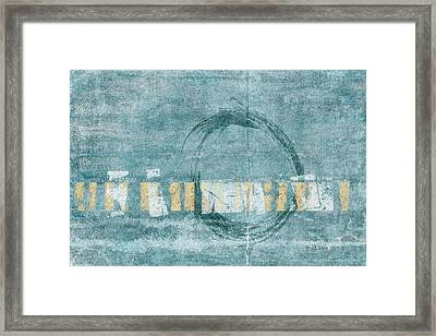 Soft Blue Enso Circle Framed Print by Carol Leigh