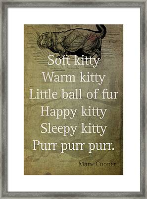 Soft Kitty Warm Kitty Poem Quotation Big Bang Theory Inspired Sheldon Cooper Mother On Worn Canvas Framed Print by Design Turnpike